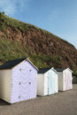 Colorful beach huts at seaton devon uk a set of pastel colored Royalty Free Stock Photography