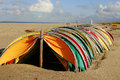 Colorful beach shelters Stock Image