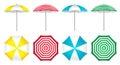 Colorful beach umbrellas set.