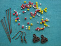 Colorful beads and pieces for making earrings, handmade jewelry Royalty Free Stock Photo