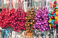 Colorful Beads for Sale on Market Stall in Krakow Stock Photo