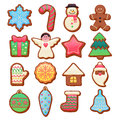 Colorful beautiful Christmas cookies icons set