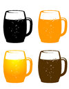 Colorful beer mug mugs on white background Royalty Free Stock Photos
