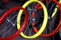 Colorful bicycle rims and spokes Royalty Free Stock Photo