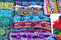 Colorful bid wristbands and earings at the market in Oaxaca Royalty Free Stock Photo