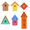 Colorful Bird Houses Set Vecto...