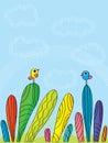 Colorful bird top sky illustration birds standing hand draw cloud rainbow blue background Stock Photos