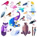 Colorful birds flat illustration. Vector logo icons set. Cute characters isolated on white background
