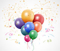 Colorful birthday with balloon and fireworks illustration of Stock Photography