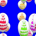 Colorful birthday cakes on party balloons seamless pattern