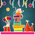 Colorful birthday card vector illustration of happy with gift and balloon Royalty Free Stock Photos