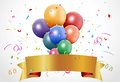 Colorful birthday celebration with balloon and ribbon illustration of Royalty Free Stock Image