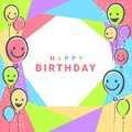 Colorful Birthday design banner background for greeting cards or poster with balloon frame