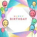 Colorful Birthday design banner background for greeting cards or poster with balloon