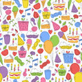 Colorful birthday seamless pattern hand drawn sketch illustration Royalty Free Stock Image