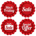 Colorful black friday sale special offer labels set red tag stars icons for Stock Images