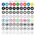 Colorful & black & white shading Social media icons set of facebook twitter instagram pinterest whatsapp