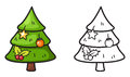 Colorful and black and white x-mas tree for coloring book Royalty Free Stock Photo