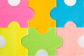 Colorful blank puzzle pieces background Stock Image
