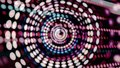 Colorful blinking circles moving in spiral with rows of dots on background, seamless loop. Abstract background with