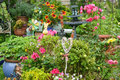 Colorful blooming garden with flowers and decorations Royalty Free Stock Photography