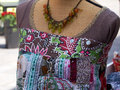 Colorful blouse top on a mannequin display in a women fashion shop Royalty Free Stock Images