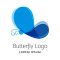 Colorful blue butterfly logo template.