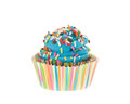 Colorful Blue cupcake with sprinkles Royalty Free Stock Photo