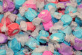 Colorful blue, pink, purple salt water taffy Stock Image