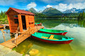 Colorful boats on the alpine lake,Strbske Pleso,Slovakia,Europe