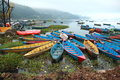 Colorful boats on fewa lake nepal colored pleasure at in pokhara Stock Image
