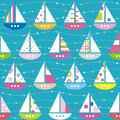 Colorful boats pattern purple red yellow blue green red and pink with flowery striped and polka dot sails on linear and dotted and Stock Photography