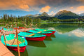Colorful boats,pier and beautiful mountain lake,Strbske Pleso,Slovakia