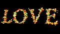 Colorful bokeh love word write on black background, valentine day holiday event