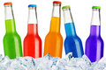 Colorful bottles on ice Royalty Free Stock Photo