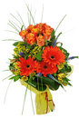 Colorful bouquet from roses and gerberas isolated on white backg background closeup Stock Image