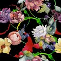 Colorful bouquet. Seamless background pattern. Fabric wallpaper print texture.