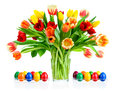 Colorful bouquet of tulips in a vase Stock Images