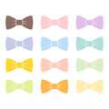 Colorful bow tie isolated bowtie accessory elegant knot celebration suit vector illustration.