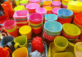 Colorful bowls and cups Royalty Free Stock Photo