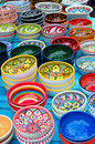 Colorful bowls with ornament, vertical Royalty Free Stock Photo