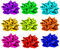 Colorful bows on the white Royalty Free Stock Photo