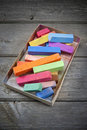Colorful Box Of Color Pastels Royalty Free Stock Photos