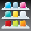 Colorful Box Icons on Shelves. Vector Template Royalty Free Stock Photo