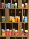 Colorful boxes of tea related snacks displayed in a tea shop in xiamen city china fashionable southeast Stock Photo