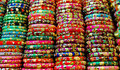 Colorful bracelets for sale on a street market Stock Images