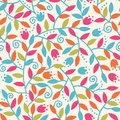 Colorful branches seamless pattern background vector with abstract plants with fun leaves and forming a floral texture Stock Photography