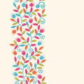 Colorful branches vertical seamless pattern vector background ornament with abstract plants with fun leaves and forming a Royalty Free Stock Photography