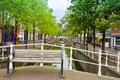 Colorful bridge bench old town delft holland Royalty Free Stock Photos