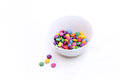 Colorful bright candy in bowl on white Royalty Free Stock Photo